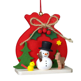 Alexander Taron Wood Red Sack Snowman Ornament