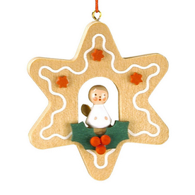 Alexander Taron Wood Angel Star Ornament