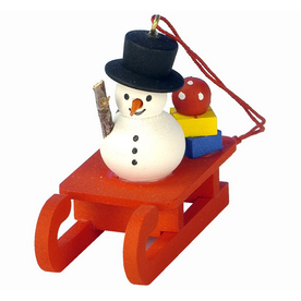 Alexander Taron Snowman with Toys On Red Sled Ornament
