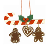 Alexander Taron Candy Cane with Gingerbread Christmas Ornament
