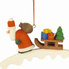 Alexander Taron Wood Santa with Sled Ornament