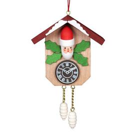 Alexander Taron Wood Cuckoo Clock Santa Ornament