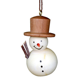 Alexander Taron Natural Wood Snowman Ornament