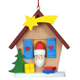 Alexander Taron Wood Santa House Ornament