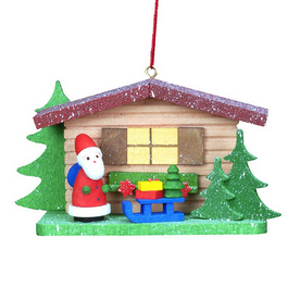 Alexander Taron Wood Cottage with Santa Claus and Sled Ornament