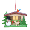 Alexander Taron Wood Cottage with Snowman Ornament