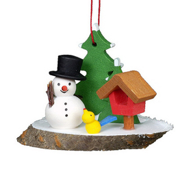 Alexander Taron Wood Snowman with Birdhouse Ornament