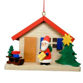 Alexander Taron Wood Santa House Ornament