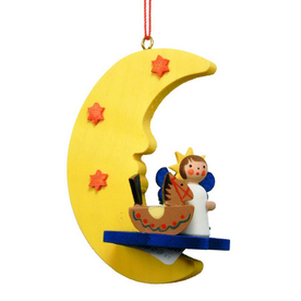 Alexander Taron Wood Angel Moon Ornament