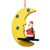 Alexander Taron Wood Santa Moon Ornament