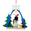 Alexander Taron Wood Snowman with Birds and Trees Ornament