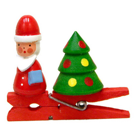 Alexander Taron Wood Santa Clip-On Ornament