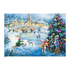 Alexander Taron Skating Scene Advent Calendar Indoor Christmas Decoration