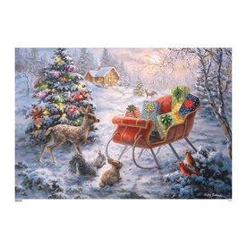 Alexander Taron Santa's Sleigh Advent Calendar Indoor Christmas Decoration