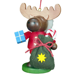 Alexander Taron Wood Santa Elk Ornament