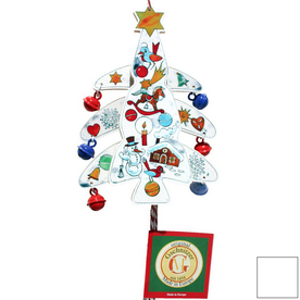 Alexander Taron White Wood Tree Jumping Jack Ornament