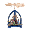Alexander Taron Wood Nativity Blue Pyramid Ornament
