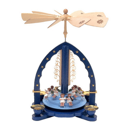 Alexander Taron Wood Angels Blue Pyramid Ornament