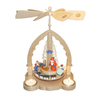 Alexander Taron Wood Tea Light Santa Scene Pyramid Ornament