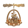 Alexander Taron Wood Tea Light Natural Nativity Pyramid Ornament