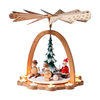 Alexander Taron Wood Tea Light Santa Snowman Pyramid Ornament