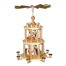 Alexander Taron Wood Nativity 3-Tier Pyramid Ornament