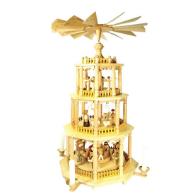 Alexander Taron Wood Nativity 4-Tier Pyramid Ornament
