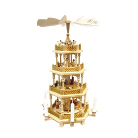 Alexander Taron Wood Nativity 4-Tier Natural Pyramid Ornament