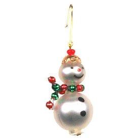 Alexander Taron Glass Miniature Snowman Glass Ornament