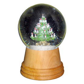 Alexander Taron Wood Christmas Tree Snow Globe Ornament