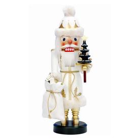 Alexander Taron Wood Santa White Nutcracker Ornament