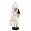 Alexander Taron Wood Santa White Nutcracker Ornament