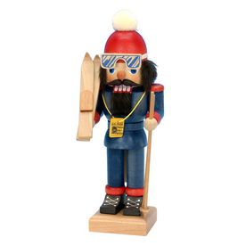 Alexander Taron Wood Skier Small Nutcracker Ornament
