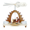 Alexander Taron Wood Santa Natural Tea Candles Pyramid Ornament