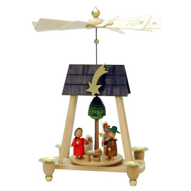Alexander Taron Wood Nussknackerhaus Pyramid with Nativity Scene Candle Holder Ornament