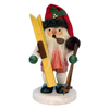Alexander Taron Wood Santa with Skis and Poles Ornament