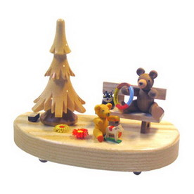 Alexander Taron Wood Lighted Christmas Tree 3 Volt Bear with Teddy Ornament