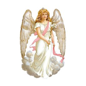 Alexander Taron White Angel Standing Christmas Card Ornament