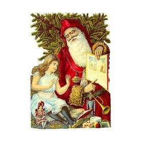 Alexander Taron Santa with Girl Standing Christmas Card Ornament