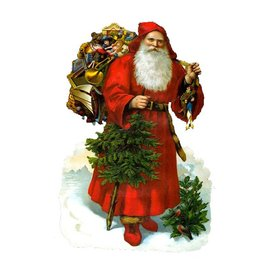 Alexander Taron Santa Standing Christmas Card Ornament