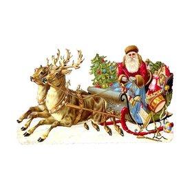 Alexander Taron Santa with Sleigh Standing Christmas Card Ornament