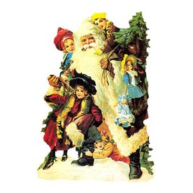 Alexander Taron Santa with Kids Standing Christmas Card Ornament