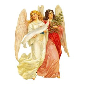 Alexander Taron 2-Angels Standing Christmas Card Ornament