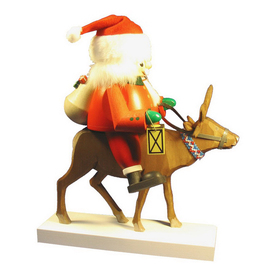 Alexander Taron 1-Piece Richard Glaesser Tabletop Santa Riding Reindeer Incense Burner Indoor Christmas Decoration