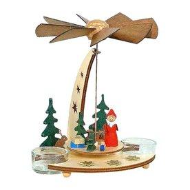 Alexander Taron Wood Santa Tea Candle Pyramid Ornament