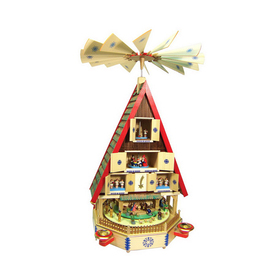 Alexander Taron Wood Large House Pyramid Ornament
