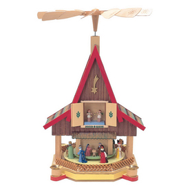 Alexander Taron Wood Nativity House Pyramid Ornament