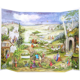 Alexander Taron Bethlehem Village with Bible Verses Standing Advent Calendar Ornament