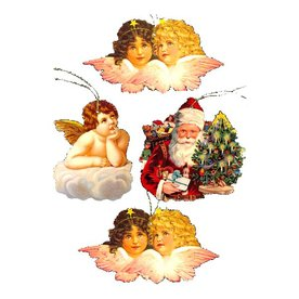 Alexander Taron 4-Pack Angel and Santa Gift Tag Ornaments