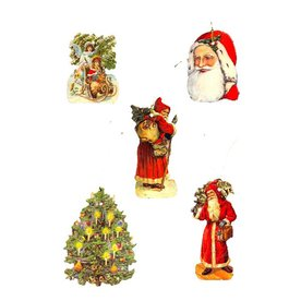 Alexander Taron 5-Pack Santa/Tree Kids Gift Tag Ornaments